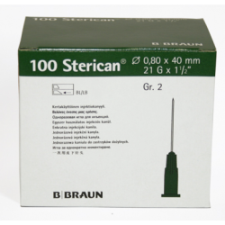 Aguja STERICAN 21G x 1 1/2, 0,80 x 40, L (color verde)